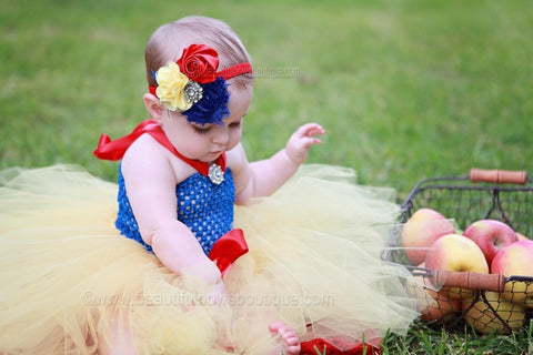 Baby Snow White Inspired Royal Blue Red Yellow Vintage Girls Headband