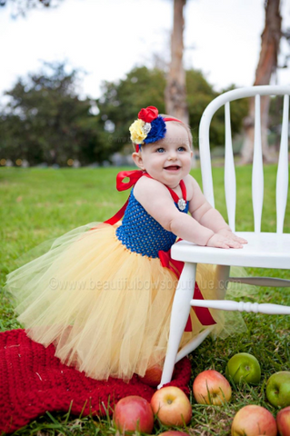 Fancy Snow White Royal Blue and Yellow Baby Tutu Dress Up Costume