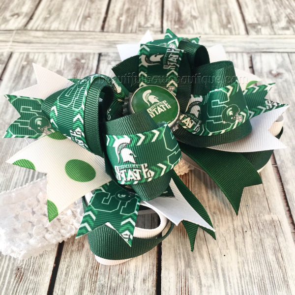 Spartans Michigan State Baby Headband, Michigan State Hair Bows, College Hair Bows
