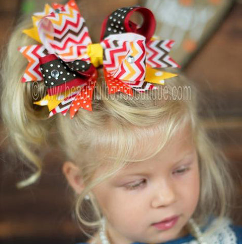 Large Spike Autumn Fall Chevron Hair Bow Clip or Baby Girls Headband