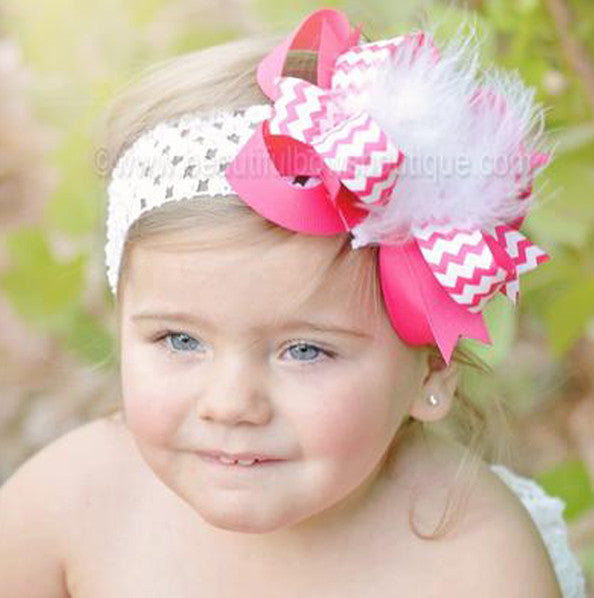 Kiara Boutique Shocking Hot Pink and White Chevron Hair Bow Clip or Headband for Baby Girls