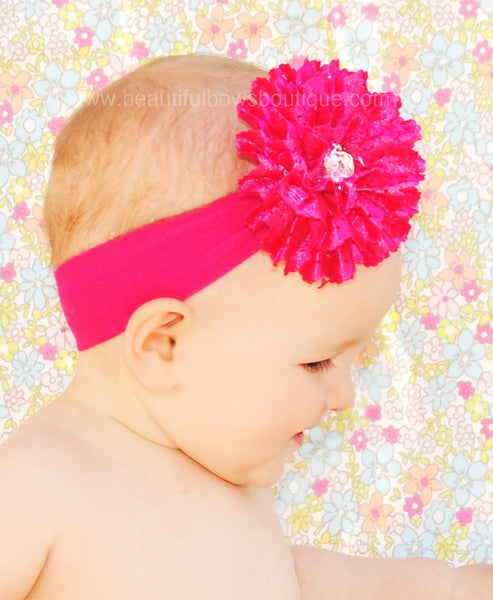 Shocking Hot Pink Baby Flower Cotton Infant Girl Headband