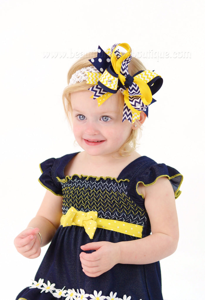 Navy Blue and Yellow School Uniform Over the Top Girls Hair Bow Clip or Headband