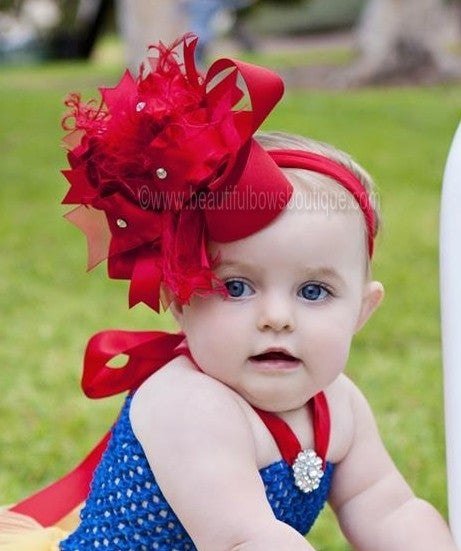 Buy Big Solid Red Over The Top Girls Hair Bow Headband