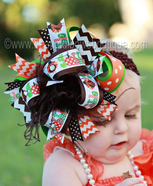 Buy Turkey Gobble Fall Over The Top Hair Bow Headband Online