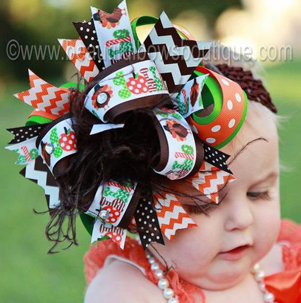 Turkey Fall Baby Headband Over the Top Bow, Thanksgiving Hair Bow, Big Fall Bow for Girls