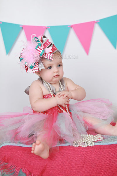 Buy Big Turquoise Gray and Shocking Pink Chevron Over the Top Hair Bow Baby Girls Headband Online