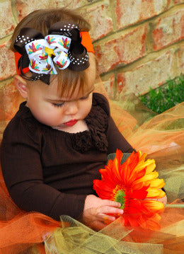 Thanksgiving Fall Turkey Hair Bow Clip or Baby Girl Headband