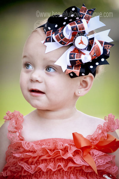 Buy Fancy UT University of Texas Longhorns Girls Hair Bow or Baby Headband Online