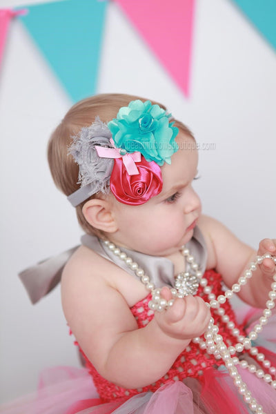 Buy Shabby Flower Headband Pink Turquoise Grey,Baby Flower Headbands Online
