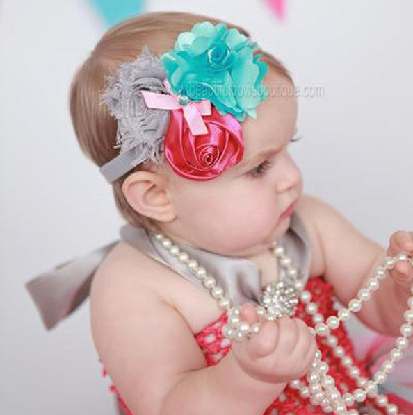 Shabby Flower Headband Pink Turquoise Grey,Baby Flower Headbands