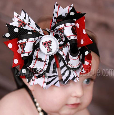 Fancy Texas Tech Red Raiders Girls Hair Bow Headband