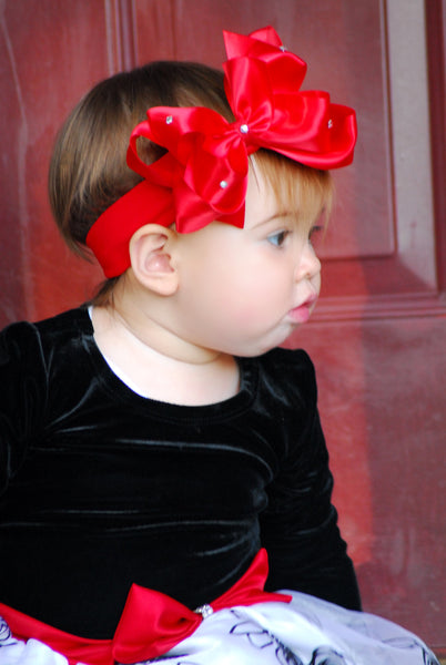 Red Satin Bling Girls Hair Bow Clip or Headband