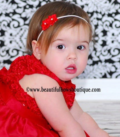 Buy Red Double Starlet Bitty Flower Headband Online