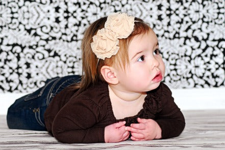 Mia Rose Tan Fabric Flower Bitty Headband