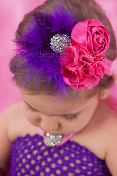 Buy Shabby Chic Purple and Hot Pink Girls Vintage Lace Headband Online