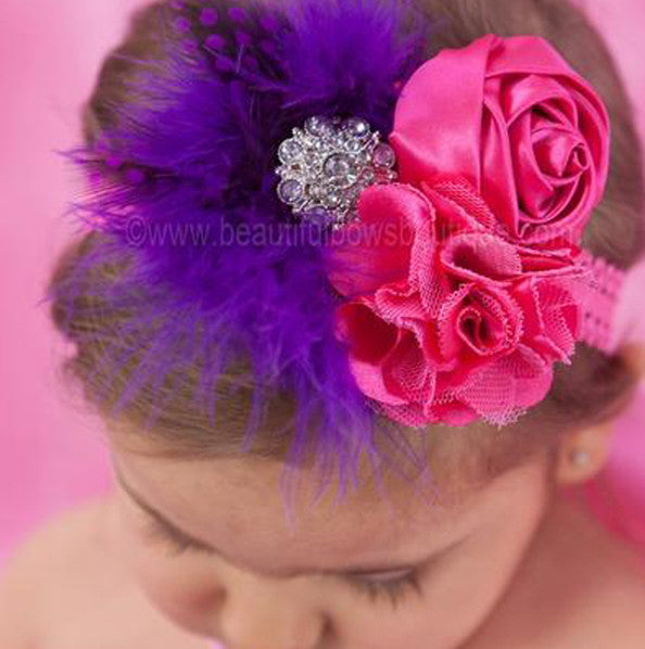 Shabby Chic Purple and Hot Pink Girls Vintage Lace Headband