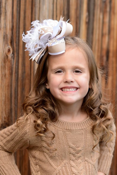 Buy Big White and Khaki School Uniform Over the Top Hair Bow Clip or Headband Online