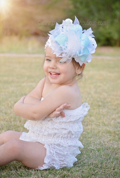 Buy Big Frozen Inspired White Baby Blue and Silver Over The Top Girls Hair Bow Baby Headband Online
