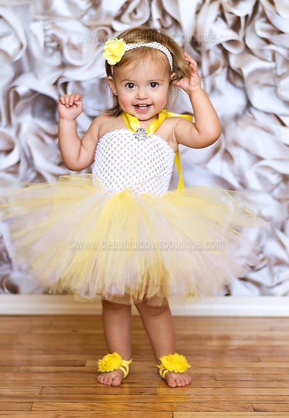 Buy Fancy White and Yellow Baby Toddler Tutu Dress Set Online