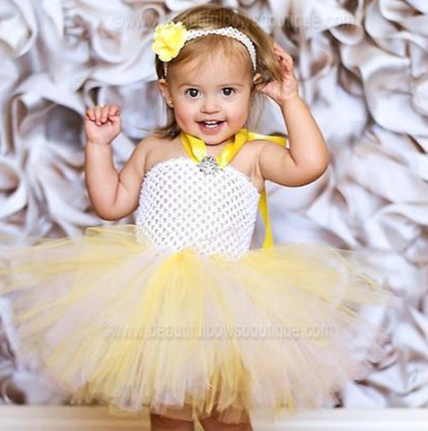 Fancy White and Yellow Baby Toddler Tutu Dress Set