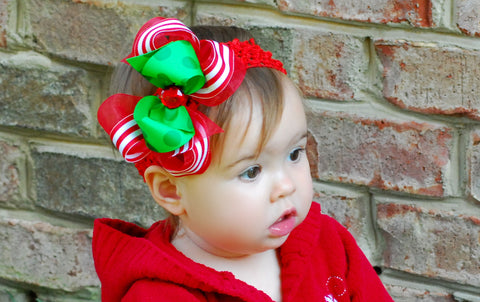 Christmas Stripes Red Green Hair Bow Clip or Baby Bow Headband