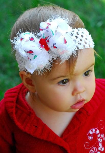 Santa Hat Christmas Baby Bow Headband Infant Toddler Girl