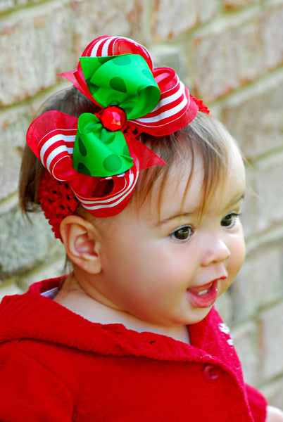 Buy Christmas Stripes Red Green Hair Bow Clip or Baby Bow Headband Online