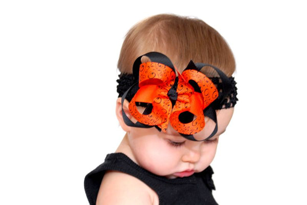 Halloween Swirls Bengals Girls Hair Bow Clip  or Headband