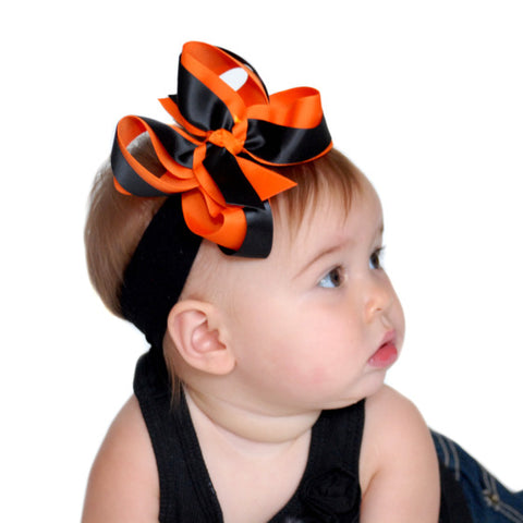 Happy Halloween Girls Hair Bow Clip or Headband