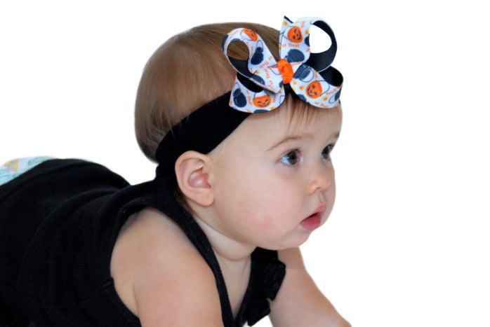 Dainty Trick or Treat Girls Hair Bow Clip Clip or Headband