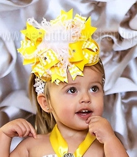 Big Yellow White Hair Bow Headband for Infants