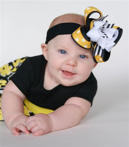 Yellow and Black Stripe Girls Hair Bow Clip or Headband