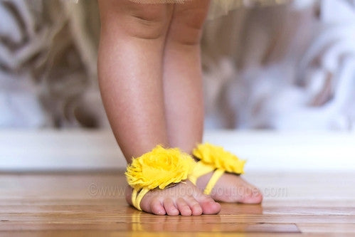 Yellow Chiffon Fabric Barefoot Baby Flower Sandals