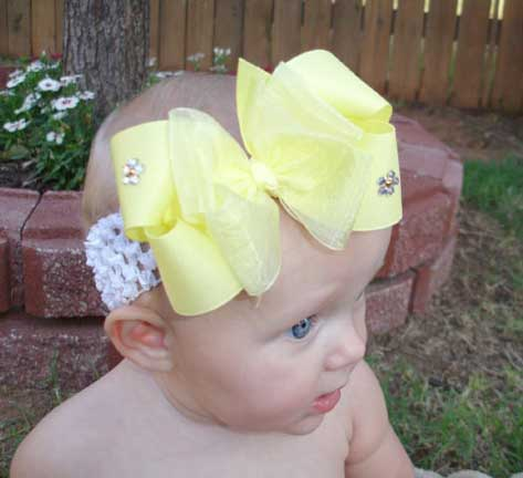 Yellow Sparkles Girls Hair Bow Clip or Baby Headband