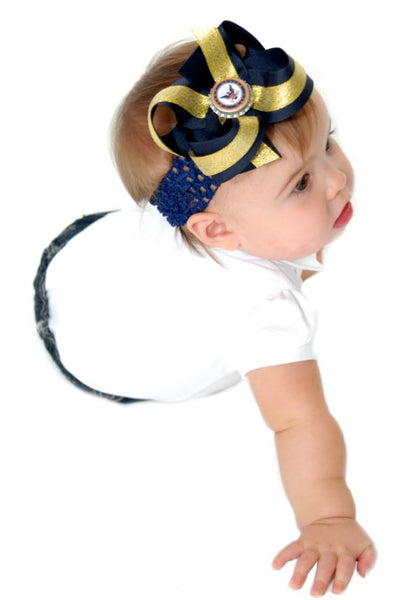 Navy Military  Girls Hair Bow Clip or Headband