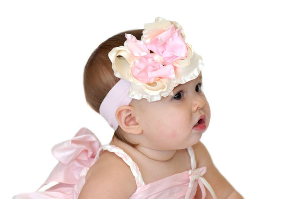 Ivory & Light Pink Ruffle Girls Hair Bow Clip or Headband