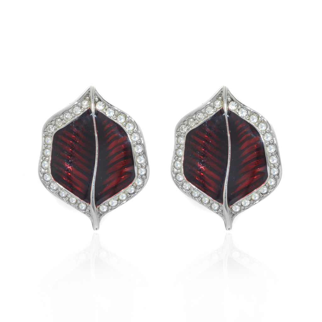 Silvertone Garnet Clip Earring With Crystals