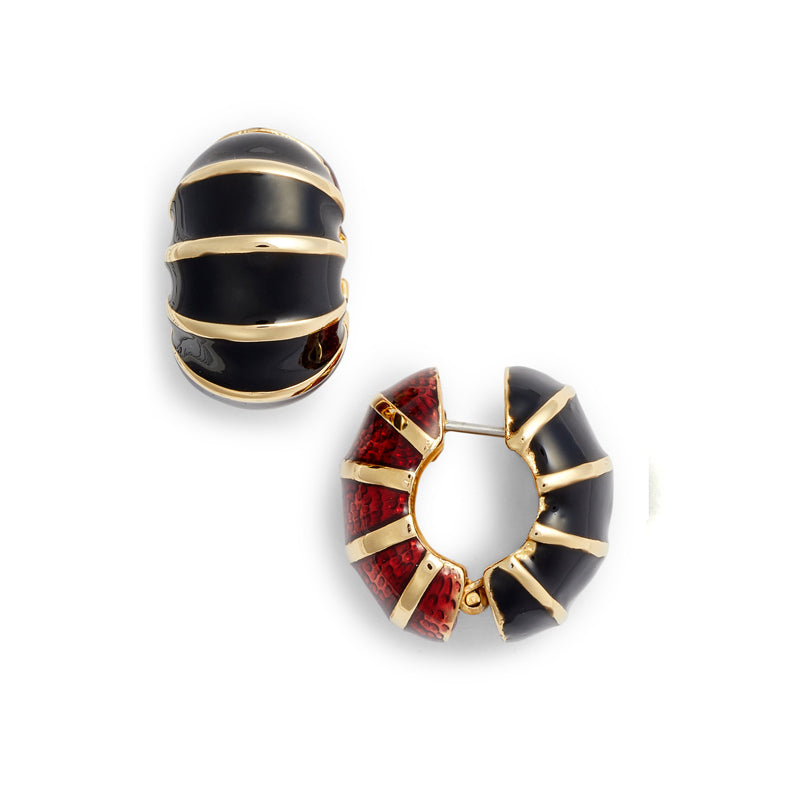 Gold Tone Black & Garnet Segmented Reversible Hugs®