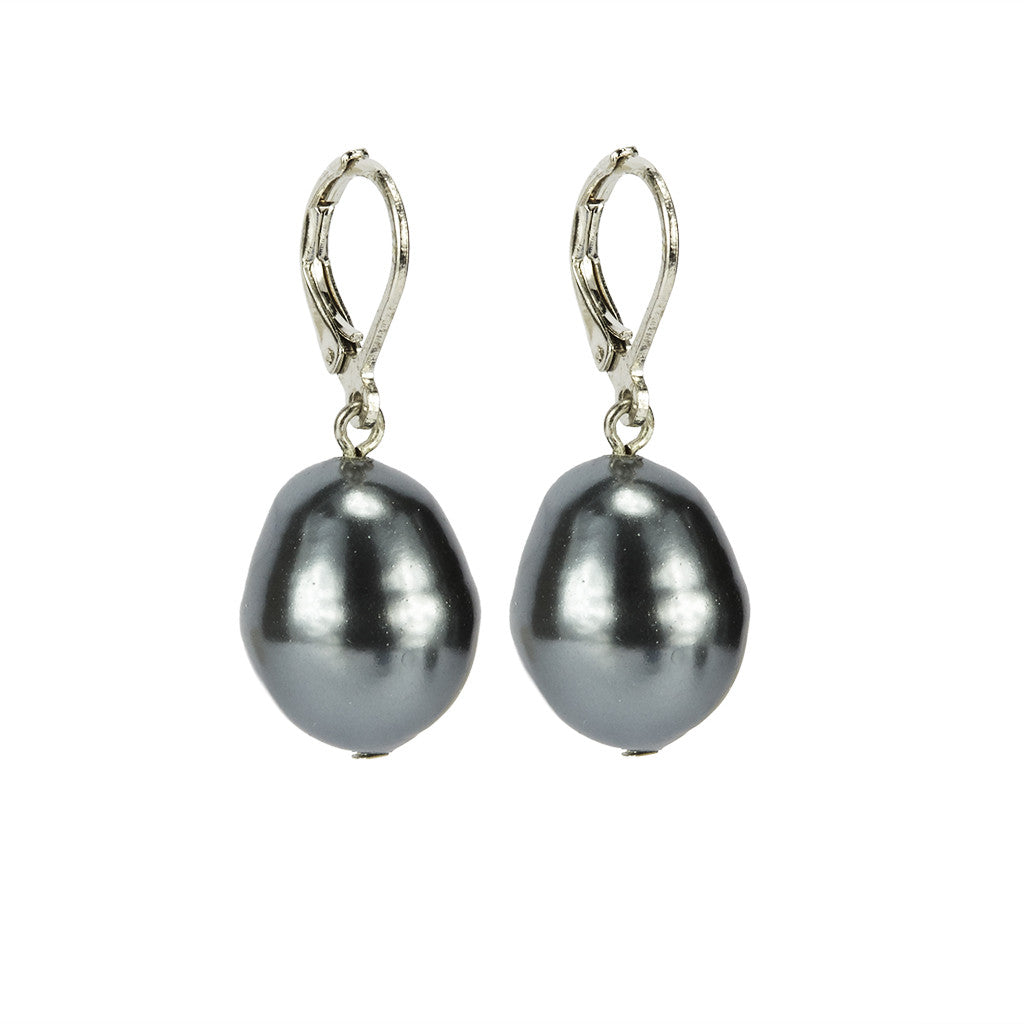 Silvertone 14mm Grey Baroque  Drop Earrings