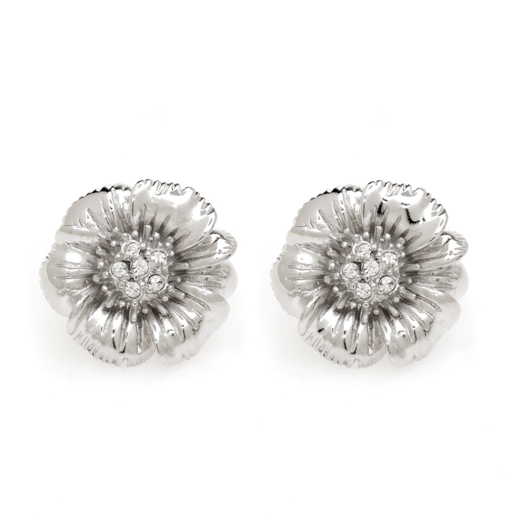Rhodium Plated Flower Earring With Crystals