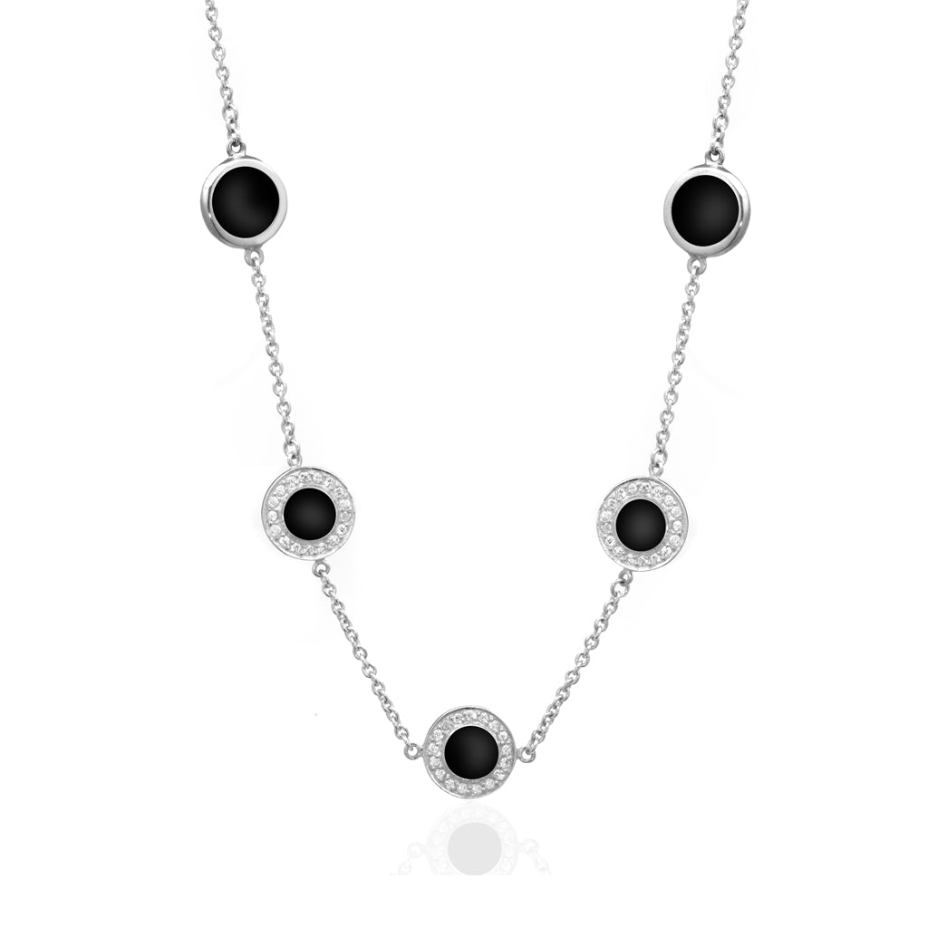 .925 Sterling Silver Necklace With Onyx Stations 18""