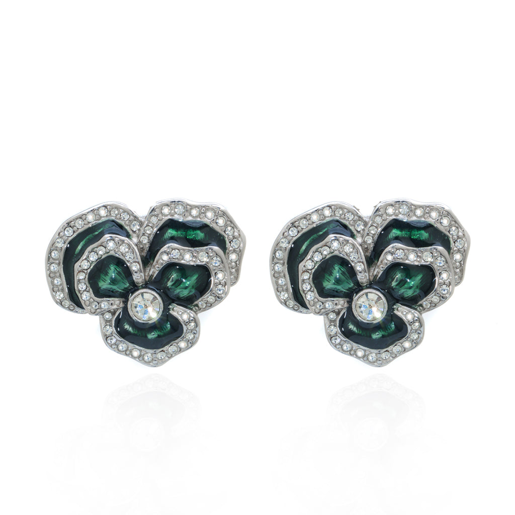 Rhodium Plated Peridot Clip Flower Earring
