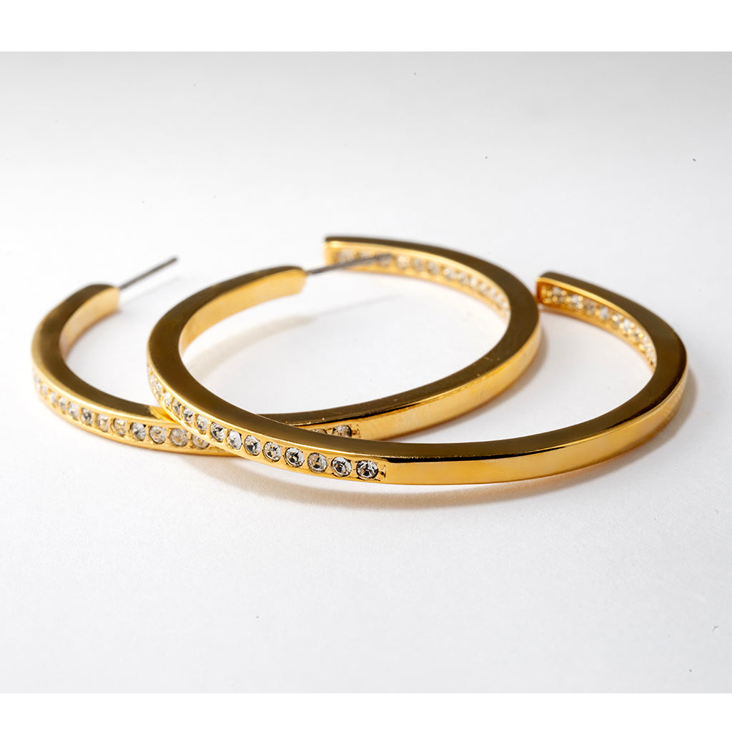 Large Goldtone Pave Hoop Earrings
