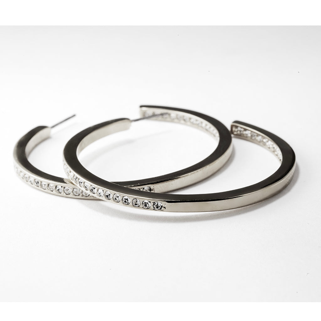 Large Silvertone Pave Hoop Earrings