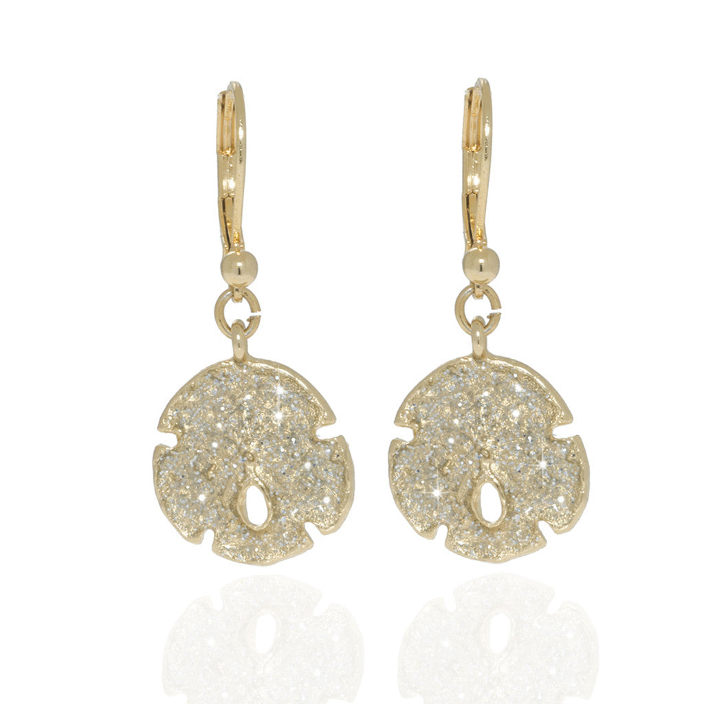Stardust Gold Small Sand Dollar Earrings