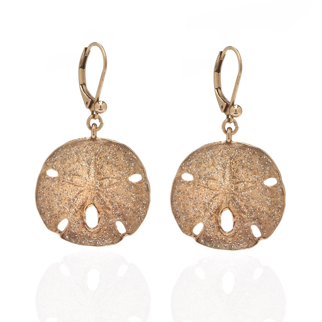 Rose Stardust Large Sand Dollar Earrings