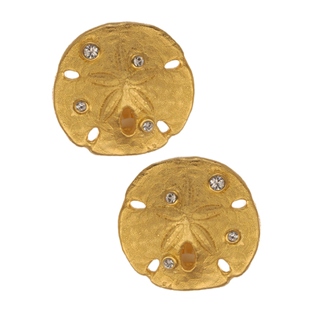 Goldtone  Sand Dollar Earrings With Crystal (Large)