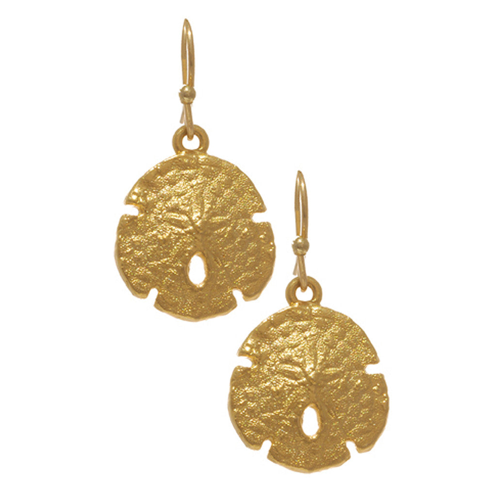Goldtone Sand Dollar Earrings on Fish Wire