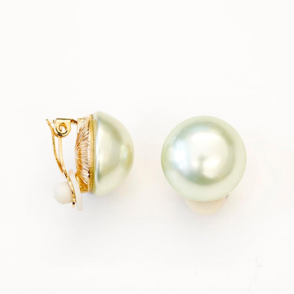 Goldtone 16mm Light Green Pearl Button Clip Earrings